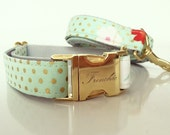 "Adjustable dog collar ""Mint dots"""