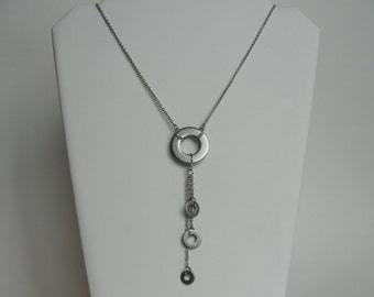 Long Industrial Hardware Stainless Steel Washer Dangle Drop Chain Y Necklace, Mechanical Jewelry, Repurposed Upcycled, Found Object Metal
