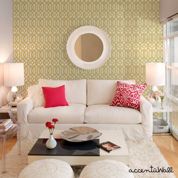 Yellow Trellis Wallpaper: Modern Trellis Custard Yellow Peel & Stick Fabric Wallpaper
