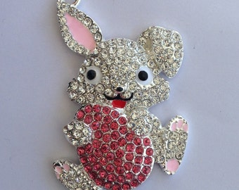 52mm Easter Bunny Egg Spring Rhinestone Pendant Chunky Necklace Beads