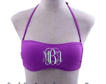 Embroidered Monogrammed Purple Bikini Bandeau Tube Top Swimsuit