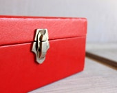 mid century storage box in red vintage // amfile amburg file and index co.