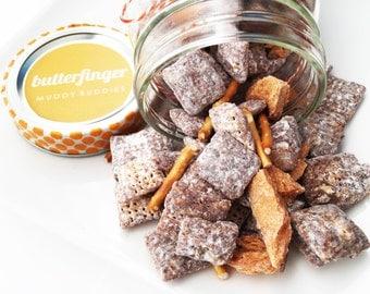 Puppy Chow - Butterfinger Muddy Buddies - Muddy Buddies - Butterfinger - Pretzel - Peanut Butter - Gourmet Edible Jars