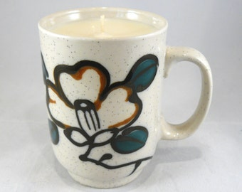 Rosemary Candle Hand-poured into Cherry Blossom Mug - Soy Wax
