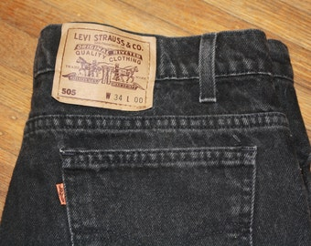 1980's Levi's black denim shorts
