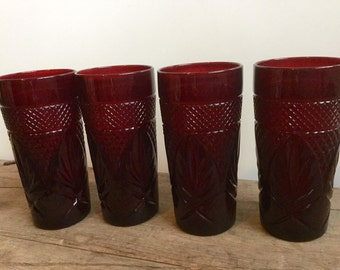 Ruby Red Cut Glass Tumbler Set