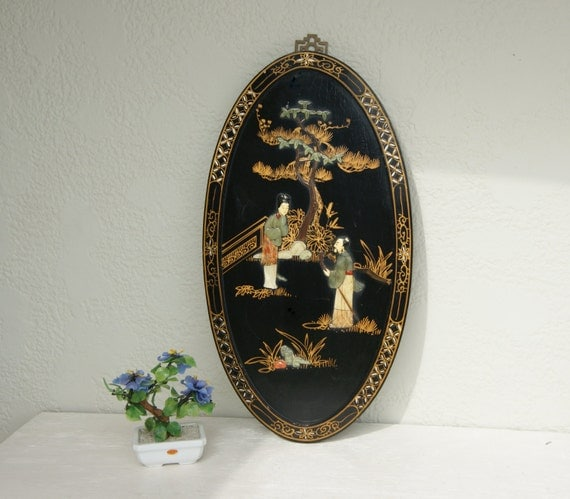 Vintage oval black lacquer mother of pearl asian art panel - Oval wall decor ...
