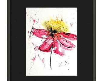 Original Abstract Watercolor painting floral ink painting abstract floral art on 24 X 32 cm Hahnemuhle 425g/ sq m Acid free Watercolor paper