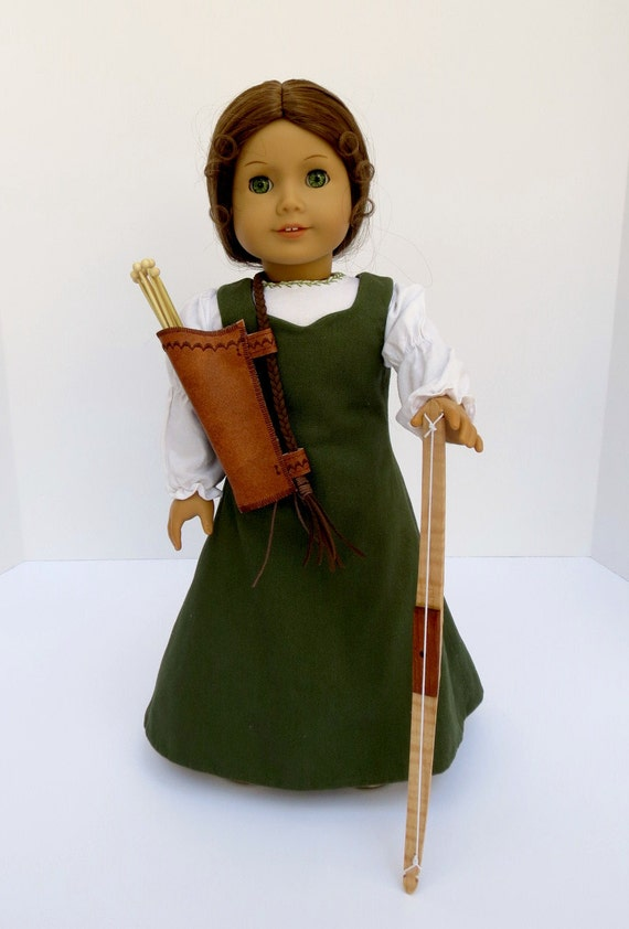 Doll BOW, ARROW & QUIVER Handcrafted for 18 Inch dolls such as American Girl® Wood bow, five arrows, and faux leather quiver