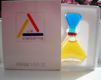 vintage Liz Claiborne by Liz Claiborne 1/8 fl. oz. miniature perfume, new in box.  Parfum bottle, original Liz Claiborne triangle bottle.