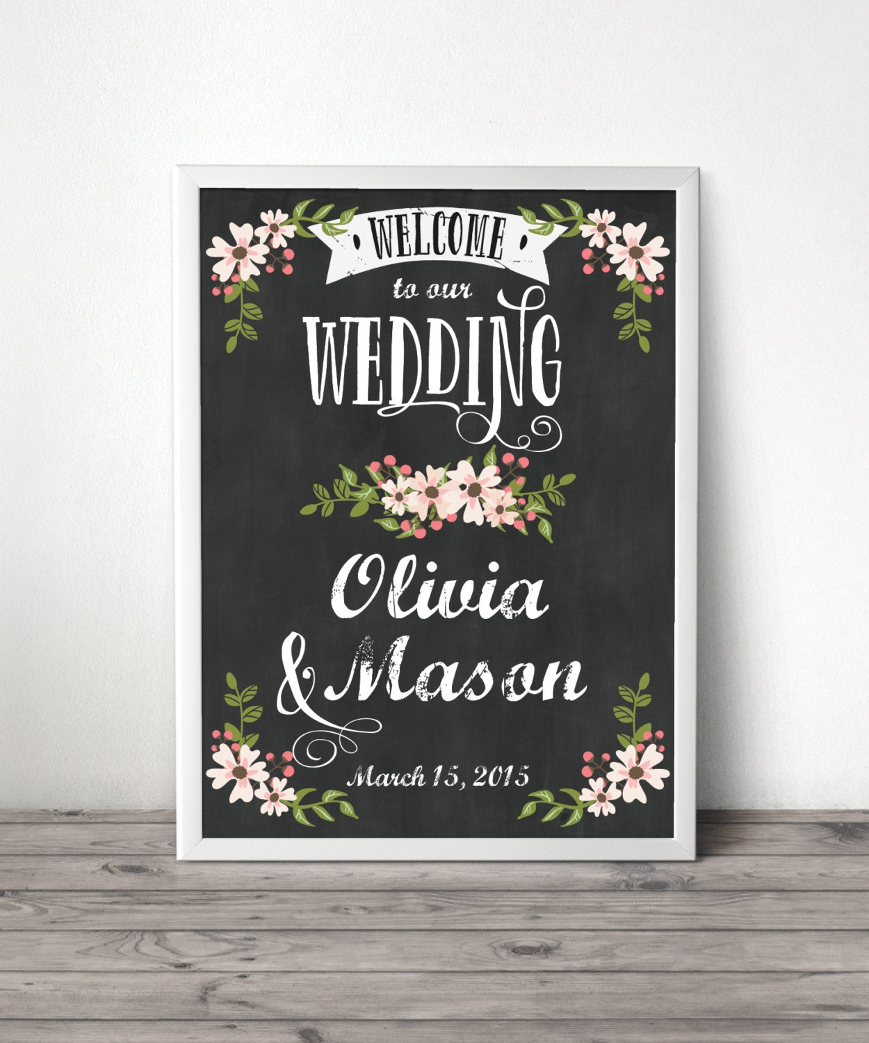 Welcome Sign Wedding Welcome Sign Country Bloom Chalkboard