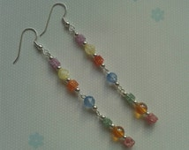 Rainbow Earrings Quartz Earrings.Multi coloured earrings.Chakra Earrings.Reiki Earrings.Gemstone Earrings.Mothers day gift.multi colored gem