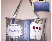 Tooth Fairy Pillow Boy Blue Striped Puppy Pawprints Toothfairy Pillow