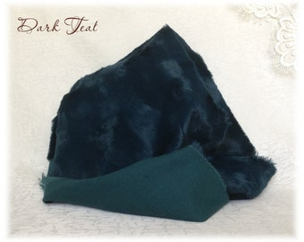 ITALIAN VISCOSE Fabric Fur Dark Teal Blue Green Colour 6-7 mm pile 1/8 metre or more teddy bear making supplies plush
