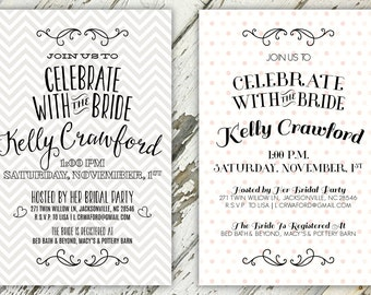 Celebrate The Bride Patterned Bridal Shower Invitation  | 5x7 | Print-It-Yourself | Digital Download | Printable | Custom Invitation
