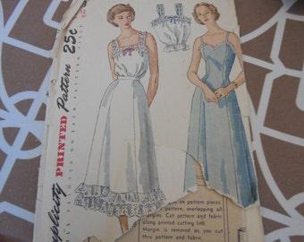 Simplicity 2643 Sewing Pattern Vintage Blouses 1940s Lingerie Full Slip Petticoat Camisole Princess seams  Sz 12