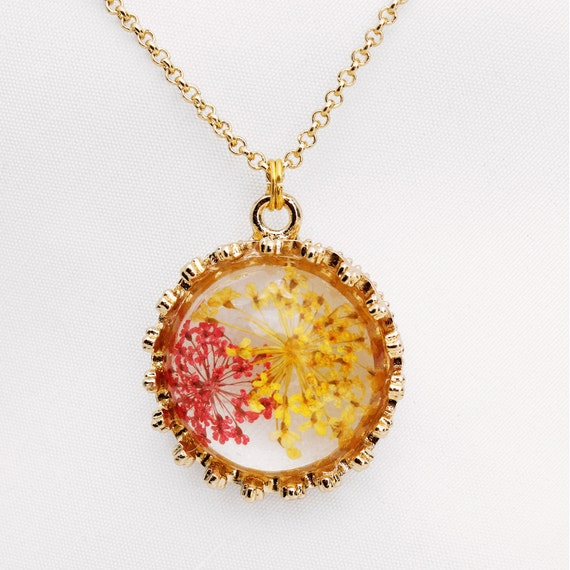 Gold plated necklace with dried red flowers pendant // Handmade in Quebec