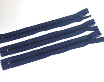10pc zipper 20cm / 8inch dark blue closed end (Z3)