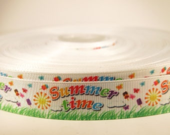 "5 yards of 7/8 inch ""Summer time"" grosgrain ribbon"