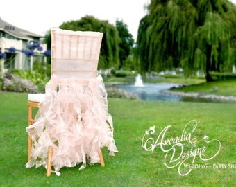 Bridal Chair Cover Wedding Ruffle Chair Decoration READY TO SHIP Willow Slipcover for Event Reception Bridal Shower Wedding Engagement Decor