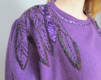 1980's vintage lambswool angora purple sweater pullover with feather/leaf sequins beading detail size M medium