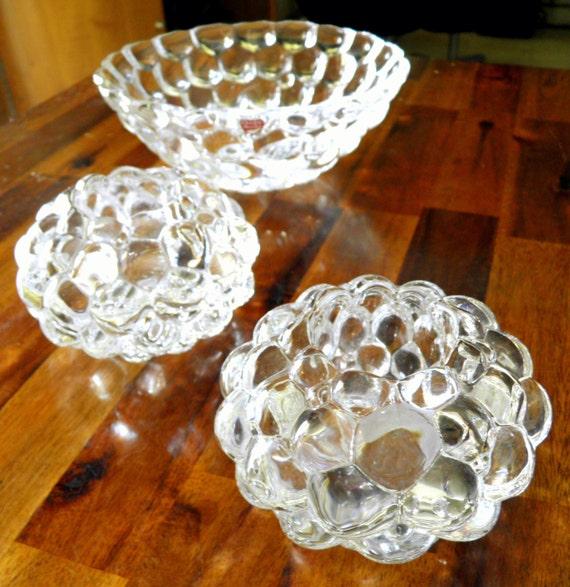 "20% OFF--Vintage Orrefors ""Raspberry"" Series Bowl & 2 Votives--Anne Nilson Design--Bowl (3"" H x 7-1/2"" Dia)--Votives (2-3/4"" H x 4-1/2"" Dia)"