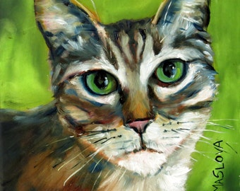 SALE - Green Eyed Cat, Original Oil Painting, Animal, Pet, 8 x 8 inches, oil on Gessobord, Wall Decor