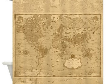 World Mercator Map Shower Curtain - Historical , antique image sepia, vintage map - Home Decor - Bathroom - travel, blue, pirate map