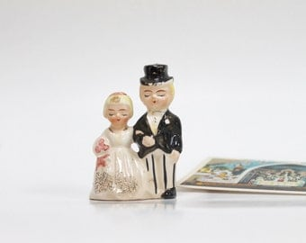 1960s Bride and Groom Cake Topper/ Vintage Wedding/ Anniversary Gift