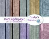 Digital Papers Rustic Distressed Wood Grain Background Grunge Textures Paper Pack Brown Red Blue Green Instant Download Digital Papers