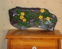 Hand Painted Rock, Handpainted stone, Home Decor, Outdoor Decor, Garden, Purple Rock with Flowers 100% goes to Charity