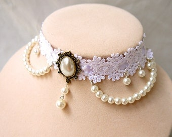 Handmade Princess like Wedding Necklace with lace and pearl beads