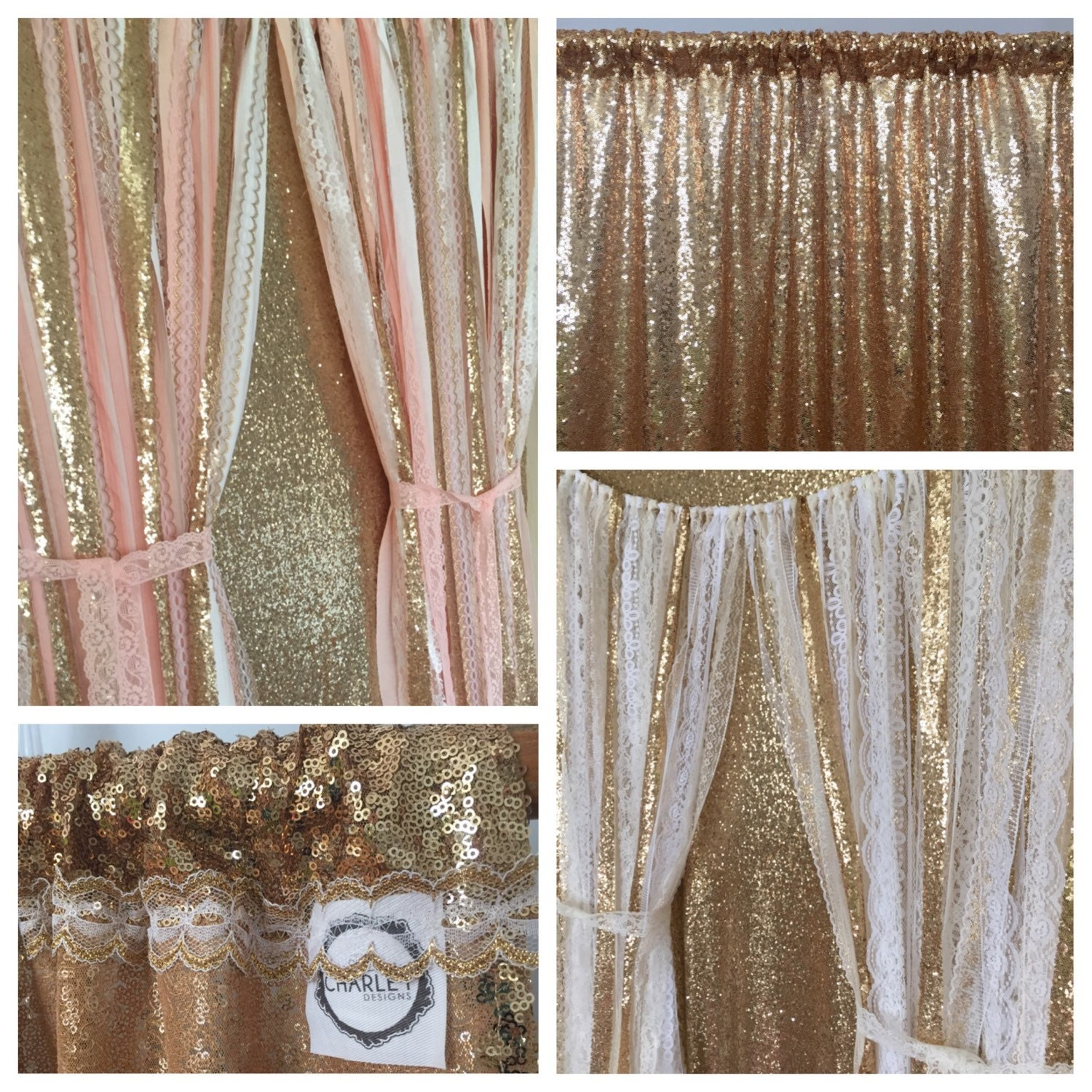 Gold Sequin Sparkle Fabric Backdrop
