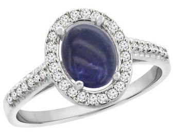 10K White Gold Natural Lapis Ring Oval 7x5 mm Diamond Halo, sizes 4 - 10