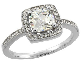 Sterling Silver Micro Pave Cubic Zirconia Princess cut Halo Ring 6mm, Sizes 4 - 10