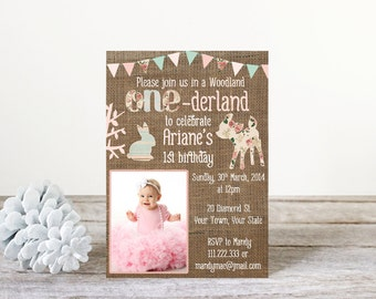 woodland birthday invitations, woodland birthday party, girl woodland party, pink woodland invitations, deer bunny invitations, PRINTABLE