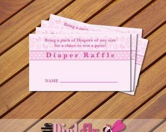Pink Butterfly Diaper Raffle Ticket