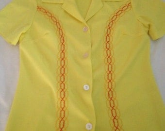 vintage womens button up yellow top /bowling / diner shirt with red embroidery