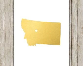 8x10 Montana State Print, Geography Wall Art Print, Metallic Gold Art, Montana Poster, Office Art, Home Decor, Instant Digital Download