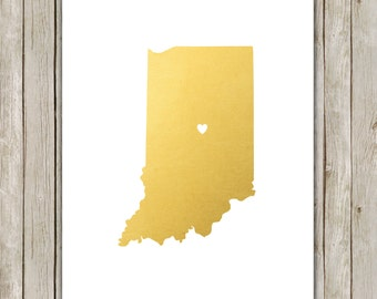 8x10 Indiana State Print, Geography Wall Art, Metallic Gold Art, Indiana Poster, Office Art Print, Home Decor, Instant Digital Download
