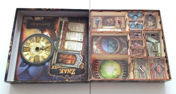 Elder sign board game wood insert to store by for Board game storage solutions