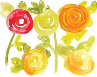 Watercolor Clipart - Watercolor Flowers Clip art - Hand painted Ranunculus