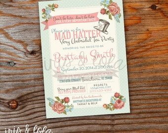 Mad Hatter  Un-Bridal Tea Shower Printable Digital Invitation