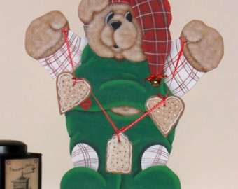 Debbie Mitchell Hp Teddy Bear Shelf Sitter  Country Christmas