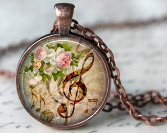 Musical Flowers necklace pendant music romantic musician gift music pendant music lover's gift music sheet necklace white flowers pendant