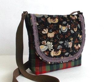 Hand made bag - Messenger bag with applique - Messenger hand made bag - Fabric bag - Shoulder bag