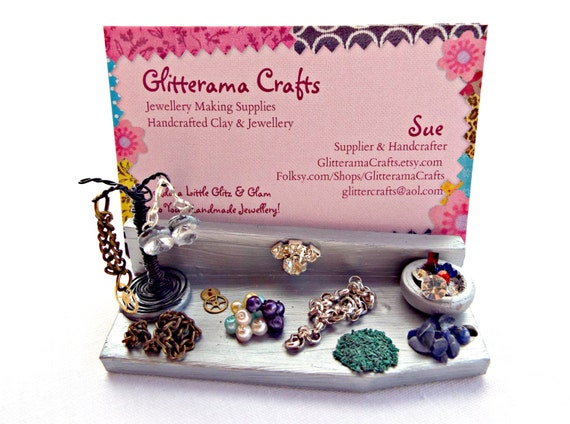 Business card holder jewelry maker display by glitteramacrafts for Handmade jewelry business cards
