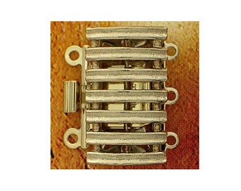 Three-Strand Gold Box Clasp with Horizontal Bands, 20x11mm