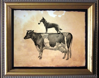 Australian Cattle Dog Riding Cow - Vintage Collage Art Print on Tea Stained Paper - Vintage Art Print - Vintage Paper