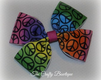 Peace Sign Bow ~ Rainbow Boutique Bow ~ Hippie Chick Bow ~ Large Peace Sign Bow ~ Hippie Girl Bow ~ Rainbow Peace Signs ~ Rainbow Hair Bow